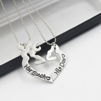 2pcs special couple Deer Hunting  Necklaces Pendant