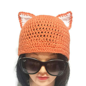 Women Fox hat, Crochet Fox Ear, Hot Fashion Hat, Fox Lover Gift, Autumn Beanie Knit Orange Hat Fashion Cap In Style Headwear Silly Adult Hat