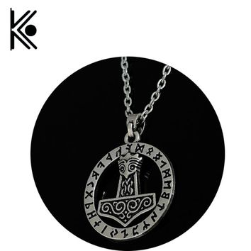 Goth Supernatural Thor's Hammer Mjolnir Knots Triquetra Norse Thor Chain Male Viking Gothic Necklace Men Pendant Jewelry xl0134