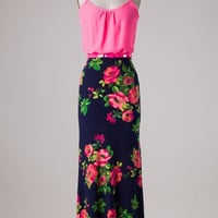 Stroll Through the Rose Garden Maxi Dress - Neon Pink