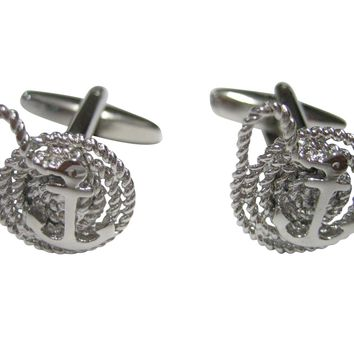 Silver Toned Nautical Rope and Anchor Cufflinks