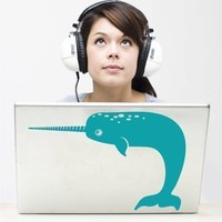 narwhal laptop decal by beepart on Etsy