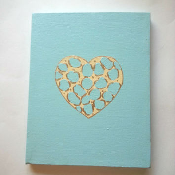 Leopard heart - blue - fashionable acrylic canvas painting for room or home decor