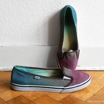 Vans lightweight slip on sneakers, multi-colour ombre upcycled gingham shoes, size eu