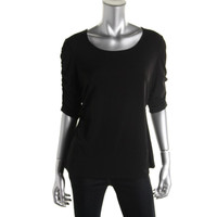 Alfani Womens Petites Matte Jersey Ruched Pullover Top