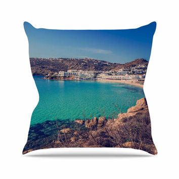 "Violet Hudson ""Mykonos Bay"" Blue Brown Outdoor Throw Pillow"
