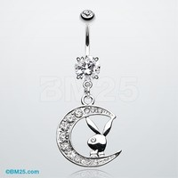 Crescent Moon Playboy Bunny Belly Button Ring