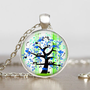 blue and green tree baby boy necklace, tree pendant, tree jewelry, necklace with tree graphic, round silver glass pendant for baby boy mom
