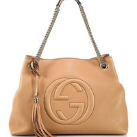 DCCKUG3 Gucci Camelia Camel Pebbled Leather Soho Shoulder Hand Bag Tassel