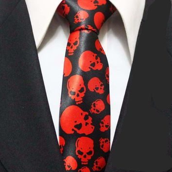 New Arrival 5cm Fashion Narrow Ties HOT Men Casual Necktie Black with Red Skulls Gravata for Party