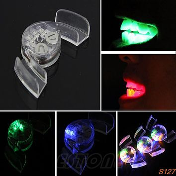 4 Colors LED Light Flashing flash Mouth Guard Piece Tooth Club Mouth guard Party Gift