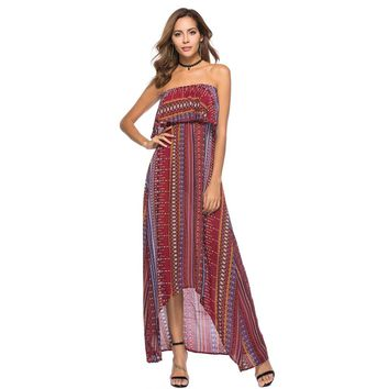 Random Print Dip Hem Tube Dress