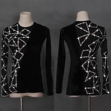 Latin Dance Shirts Men Flamenco Long Sleeve Round Neck Sequin Middle East Diamond Tops Ballroom Shirt Performance Wear DN1949