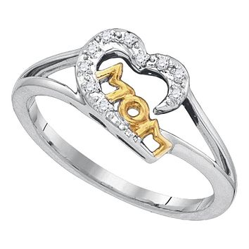 Sterling Silver Diamond Mom Mothers Heart 2-tone Ring Dainty Small 1/20 Cttw - FREE Shipping (US/CAN)