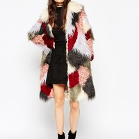 ASOS Swing Coat in Patchwork Faux Fur