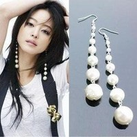 Elegant Pearl Long Dangle Earrings at Online Fashion Jewelry Store Gofavor