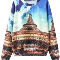 Essential Eiffel Tower Pattern Sweatshirt - OASAP.com