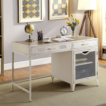 2 Drawers Metal Desk with Wooden Top And Wire Mesh Design, Distressed White