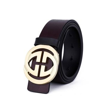 Classic Leather Vintage Belt Gucci Pattern Big G Metal Buckle Men Gift Coffee