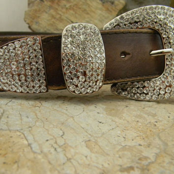 Custom Dog Collar, Brown Distressed Leather and Rhinestone Collar For Large Breed Dogs, Designer Leather Pet Collar