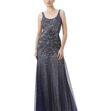 Adrianna Papell - Square Neck Sleeveless Sparkling Gown 91895430