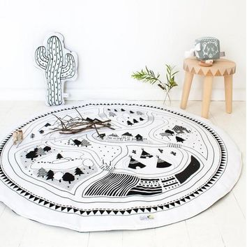 Kids Play Mat Cobertor Cotton Girl Boys Game Mat Round Carpet Rug Children Tent Mat Baby Cama Bedding Cover Kids Sofa Beds Mats