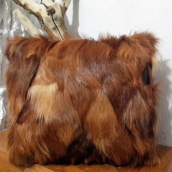Genuine Goatskin Decorative Pillow With Filling | 100% Naturel Goat Skin Patchwork Throw Pillow | Red Brown Fur Decorative Throw Cushion