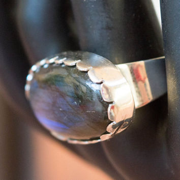 Labradorite ring, Big Labradorite Ring, Semi Precious Gemstone Jewelry, Large silver ring,Statement ring , Size 8.5 US, Boho ring, Unique