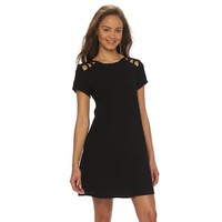 Juniors' Speechless Lattice Short Sleeve Dress | null