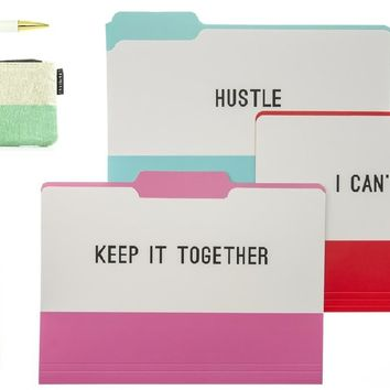 Hustle File Folder Set, Journal, Zipper Pouch, and Pen Gift Set
