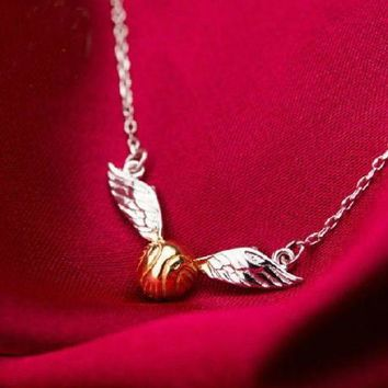 CREYIJ6 Harry Potter/Quidditch match/Golden Snitch necklace/ silver 925 necklace/ movie products.