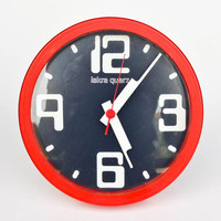 Modern Wall Clock / Vintage Iskra Quartz Clock / 80's Yugoslavia / Red White Black