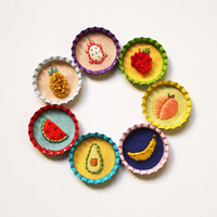 Hand embroidered ' Fellowship of the Fruits' Bottlecap Badges