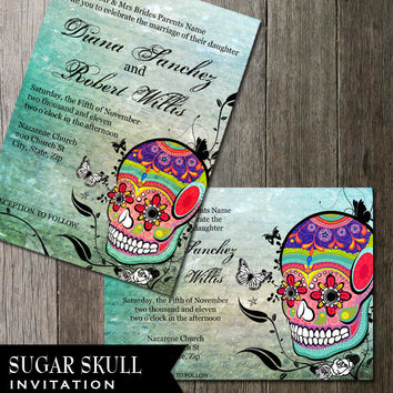 Muerte Sugar Skull Day of the Dead Dia De Los Muertos Digital Printable Wedding Invitation DIY Templates Calaveras offbeat Wedding Invite