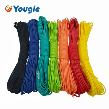 YOUGLE 50-100  Feet 550 Paracord Parachute Cord Lanyard Mil Spec Type III 7 Strand Core Camping hiking emergency survival Cord