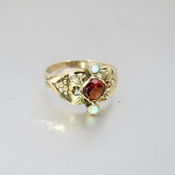 Victorian Opal Garnet Ring. Antique 10K Yellow Gold Grape Cluster Setting. Alternative Engagement Ring. January Birthstone.