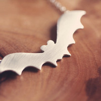 Halloween jewelry - bat necklace - halloween necklace - sterlin