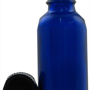 Frontier Natural Products - Cobalt Blue Glass Boston Round Bottle with Cap - 1 oz.