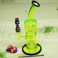 Fluorescent green glass bongs smoking water pipe With Domeless Titanium Nail for tobacco and oil rig 18.8MM Jiont