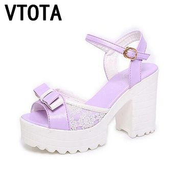 VTOTA 2017 Fashion Woman Sandals Flatform Women Summer Shoes Open Toe Sandals Thick Heel High Heels Shoes Bowtie Women Shoes 258