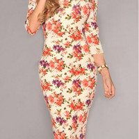 Off-White Floral Print Half Sleeve Bodycon Dress