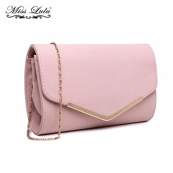 Miss Lulu Women Clutch Purse Celebrity Envelope Evening Party Hand Bag Fashion PU Leather Pink Cross Body Shoulder Bag LH1756