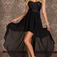 Black Sequined Strapless High Waist Hi-Low Dress