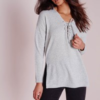 Missguided - Lace Up Front Split Side Top Grey