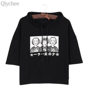 Tops and Tees T-Shirt Qlychee Harajuku Style Women Hoodie T-shirt Japan Anime Mask Girl Japanese Print T shirt Half Sleeve Casual Loose Top Tee AT_60_4 AT_60_4