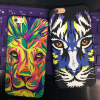 Vintage Luminous Lion Tiger iPhone 5se 5s 6 6s Plus Case Solid Cover + Christmas Gift Box 438