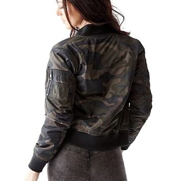 Long-Sleeve Camo-Print Bomber Jacket | GUESS.com