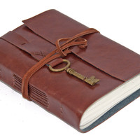 Faux Leather Journal with Key Bookmark - Choice of 6 colors - 2 paper options