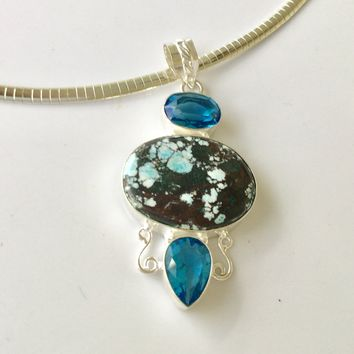 """Turquoise and blue quartz 2.5"""" sterling silver pendant"""