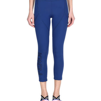 Fendi Seamed Cropped Leggings with Logo Side